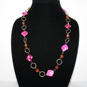 Gold orange and pink shell necklace